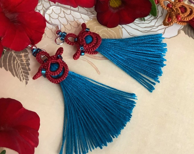 Red and blue tassel earrings with beads. Japanese fabric lace dangle earrings. Chinese gift for her