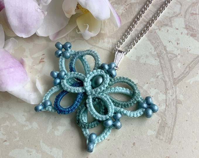 Butterfly pendant in blue and green cotton lace with glass bead. Elven blue tatting lace butterfly necklace. Delicate gift for her.