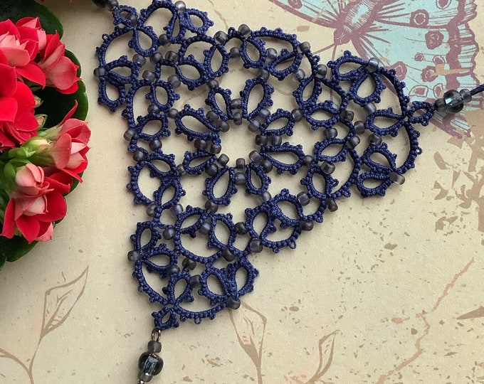 Elegant midnight blue beaded necklace in cotton lace. Triangular fabric necklace with grey glass beads in tatting lace. Gift for her.