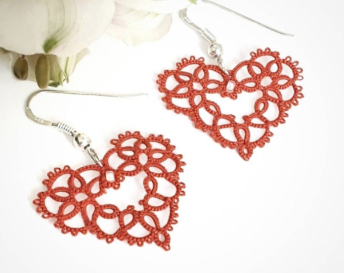 Romantic red lace heart dangle earrings. Delicate  sweetheart drop earrings in cotton tatting lace with glass bead. Valentine gift for her.