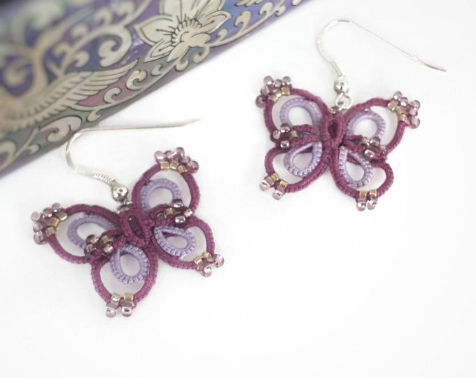 Purple butterfly lace dangle earrings with lilac glass beads. Romantic drop earrings with cotton tatting lace. Valentine gift for her