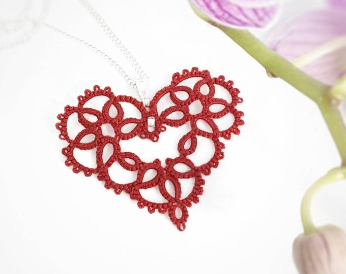 Romantic red lace heart pendant with glass bead. Delicate sweetheart necklace in cotton tatting lace. Valentine gift for her.