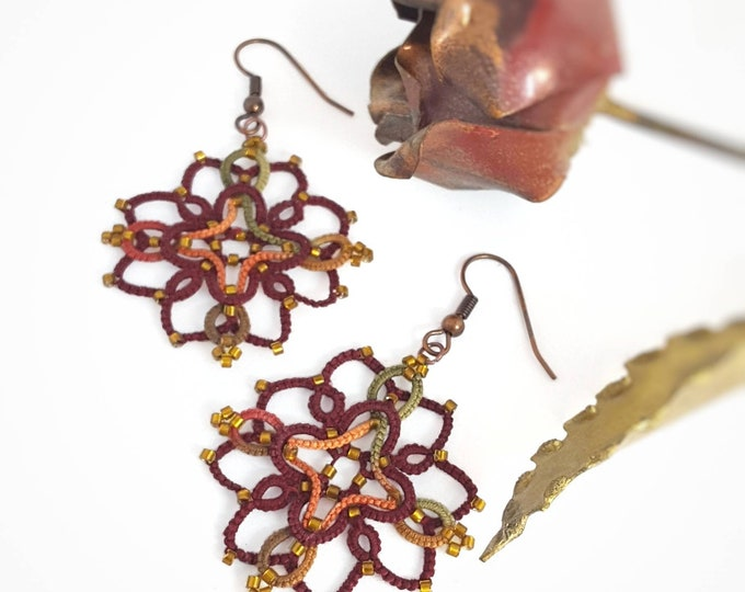 Celtic beaded lace dangle earrings. Autumn drop earrings in brown, gold and orange cotton tatting lace. Elegant gift for her