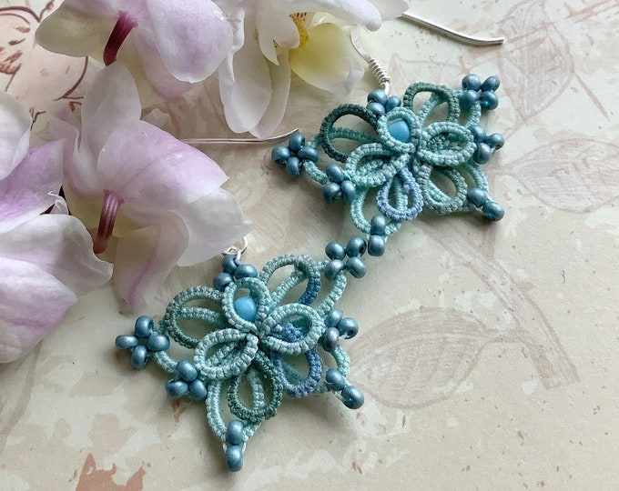 Blue and green butterfly lace beaded dangle earrings. Fantasy elven drop earrings with cotton tatting lace. Gift for her