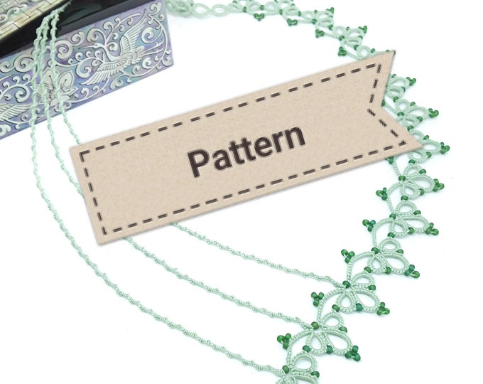 Shuttle tatting lace necklace pattern. Intermediate tutorial for asymmetrical beaded necklace. Pattern in PDF form to download.