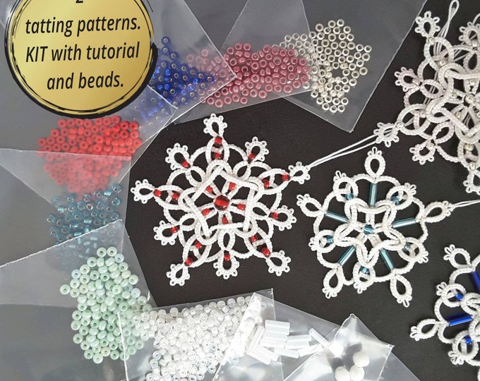 Set of 2 shuttle tatting patterns with tutorial and beads. Kit of patterns and beads for 8 snowflakes with printed tutorial. Gift for her..