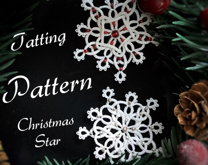 Christmas tree star shuttle tatting pattern. Intermediate beaded snowflake tatting tutorial. Photos and diagrams in PDF to download.