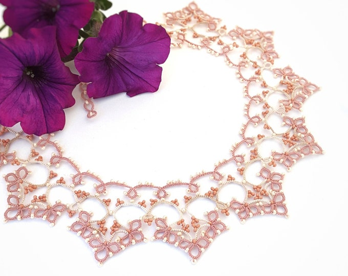 Romantic beaded lace pink and cream collar necklace. Delicate bib necklace with cotton tatting lace. Valentine gift for her