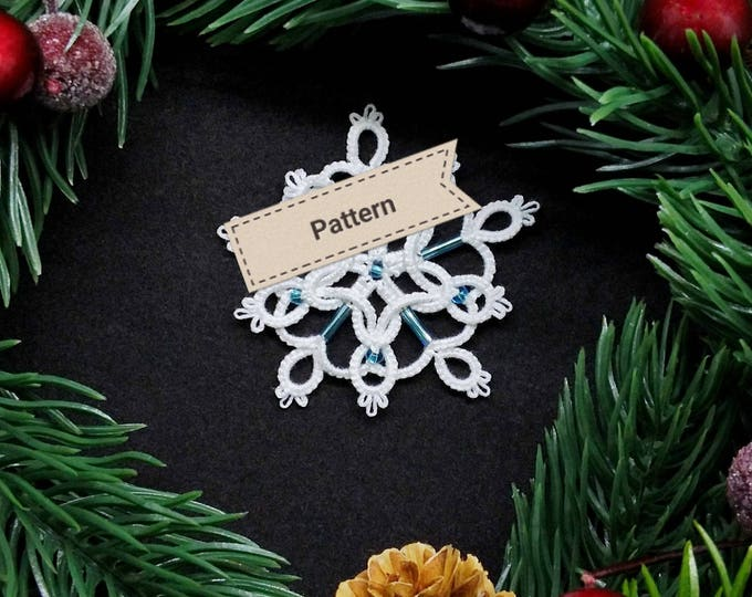 Christmas tree beaded star or snowflake tatting lace pattern. Shuttle tatting tutorial. Intermediate pattern in PDF to download.