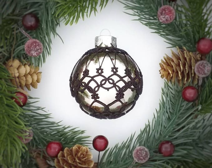 lace decorated christmas glass bauble silver christmas tree ornament with black tatting lace black
