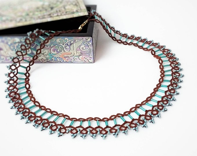 Ethnic brown lace collar necklace with turquoise beads. Tribal bib necklace with cotton tatting lace. Chic gift for her.