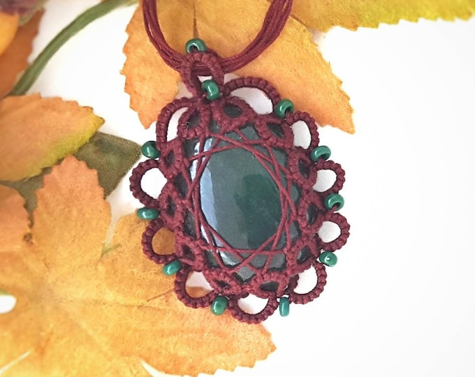 Burgundy lace and jade beaded necklace. Birthstone pendant with cotton tatting lace surround and emerald glass beads. Gift for her