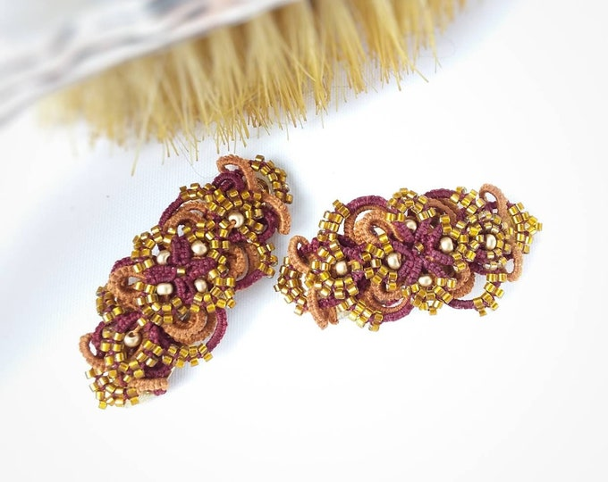 Glamourous beaded barette hair accessory in burgundy cotton tatting lace. Gold beaded evening hair clasps. Hairslide gift for her.