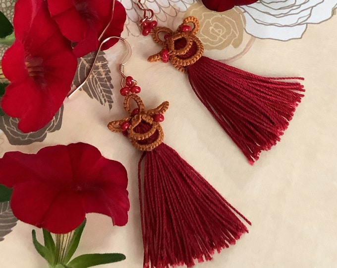 Japanese red and gold tassel dangle earrings with beads. Chinese fabric lace earrings. Oriental, boho gift for her