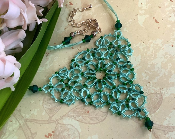 Ornate mint green beaded necklace in cotton lace. Fantasy triangular necklace with glass beads in tatting lace. Elegant gift for her.