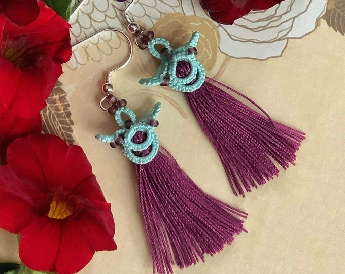 Green and purple tassel earrings with beads. Chinese fabric lace dangle earrings. Japanese gift for her