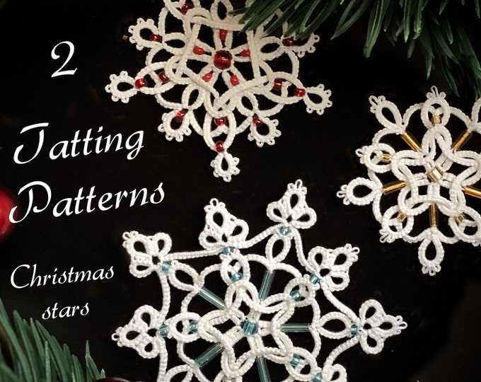 Christmas tree star shuttle tatting pattern. 2 Intermediate beaded snowflake tatting tutorials. Photos and diagrams in PDF to download.