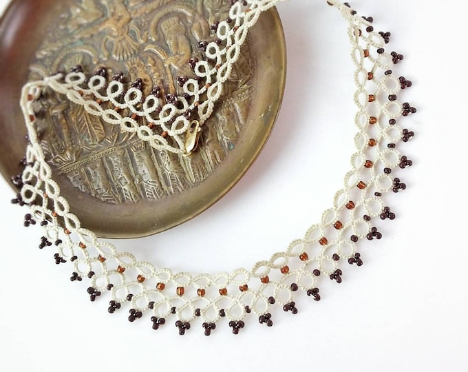 Ethnic creme lace beaded collar necklace. Bib necklace with cotton tatting lace and brown copper beads. Boho chic gift for her.