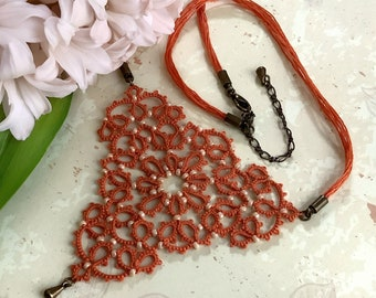 Burnt orange fabric beaded necklace in cotton lace. Triangular lace necklace with cream glass beads. Elegant gift for her.