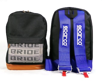 JDM Bride Racing Backpack with Racing Harness Shoulder Straps Super Cool Blue Sparco