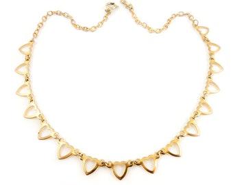 Vintage 1970s goldtone adjustable necklace heart charms 1970s