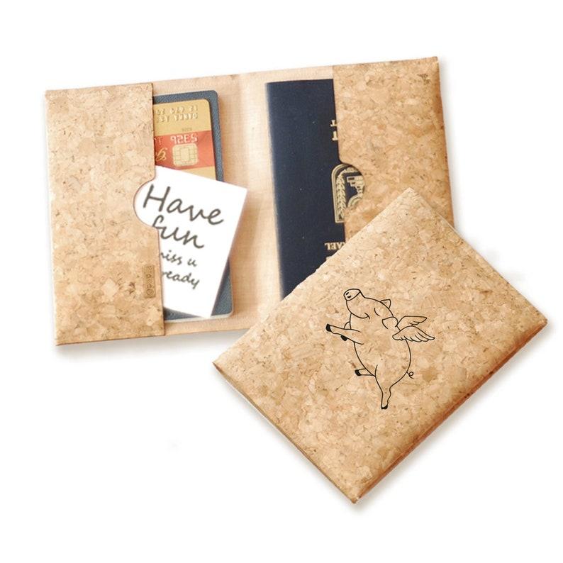 4e9059e3ded9 Passport cover, Vegan gift, pig, passport cork, Document case, Boho Brown,  Cork case, Vegan Gift, Birthday Gift, travel gift, Case, Logo