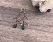 925 Sterling Silver Branch Earrings, Green Emerald Nugget Anniversary Gift, White Pearl June Birthstone, Christmas Gift for Her, Unique Gift