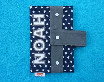 Tough, dark blue diaper case, diaper bag, diaper clutch Noah with white stars