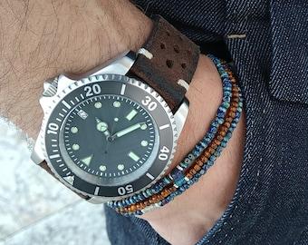 Aquamarine Bracelet, Mens Lapis Bracelet, Topaz Bracelet, Mens Beaded Bracelet, Boyfriend Husband Gift, Couples Bracelet, Mens Bracelet Set