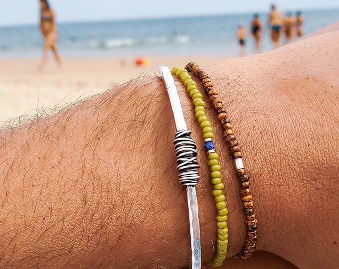 Lapis Lazuli Bracelet, Carnelian Bracelet Men, Mens Jewelry, Mens Beaded Bracelet Gift Birthday, Set 2 beaded bracelets (Without Metal cuff)