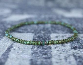 Emerald Bracelet, Mens Bracelet, Mens Gift, 24k rose gold vermeil, Anniversary Gift, Birthstone Bracelet, Couples Bracelet