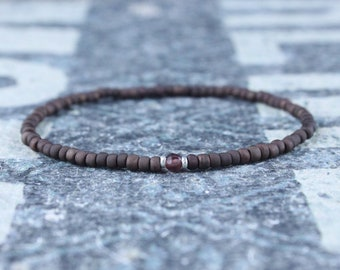 Garnet Bracelet, Mens Bracelet, Mens Beaded Bracelet, Minimalist Jewelry, Mens Gift, Gift for Him, Beaded Bracelet, Bracelet Men, Bracelet