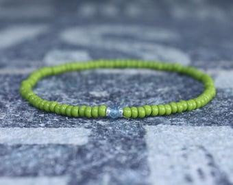 Apatite Bracelet, Birthday Gift, Mens Birthstone, Mens Gift, Mens Bracelet, Minimalist Bracelet, Beaded Bracelet, Mens Apatite Bracelet Gift