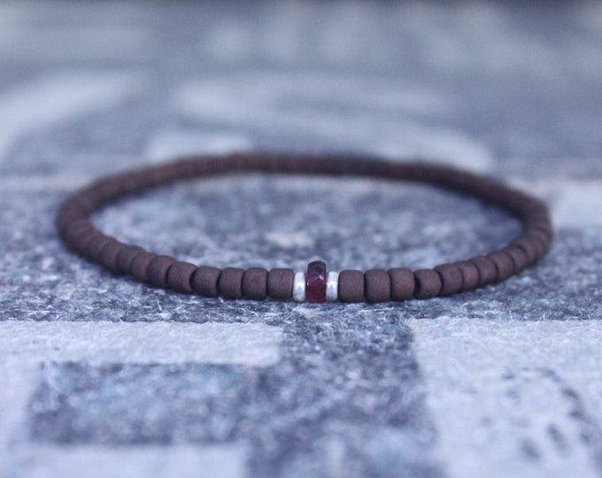 Ruby Bracelet for Men, Men Ruby Bracelet, Husband Gift,  Mens Jewelry, Men Boho Minimalist Bracelet, Mens Gift, Boyfriend Gift, Gift for Men