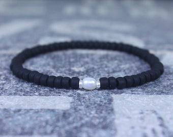 White Pearl bracelet, Mens Gift, Love Bracelet, Gift for Men, Boyfriend Gift, Husband Gift, Gift for Boyfriend, Gift for Husband, Couples