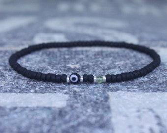 Peridot Bracelet, Evil Eye Bracelet, Mens bracelet, Mens Gifts, Birthday Gift for Men, Gemstone Bracelet, Birthstone bracelet, Bracelet Men