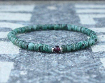 Mens Emerald Bracelet, Mens Garnet Bracelet, Mens Bracelet Gift, Anniversary Gift, Gemstone Bracelet, Birthstone Bracelet, Couples Bracelet