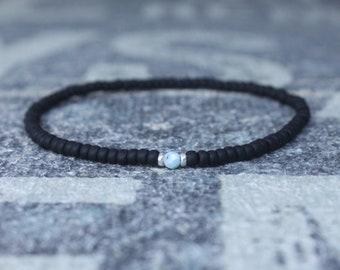 Larimar Bracelet, Mens Beaded Bracelet, Mens Jewelry, Mens Beaded bracelet, Husband Gift, Mens Gift, Boyfriend Gift, Gift for men bracelet