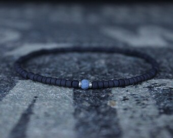 Opal Bracelet, Blue Opal, Mens Jewelry, Boho Bracelet, Minimalist Bracelet, Mens Gift, Boyfriend Gift, Gift for Men