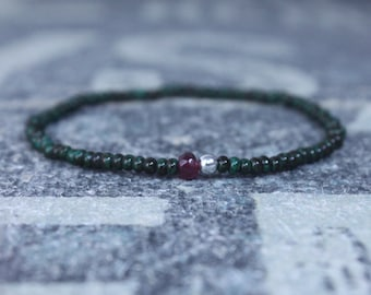 Ruby Bracelet, Mens Bracelet, Mens Jewelry, Mens Gift, July birthstone, Boyfriend gift, Husband Gift, Mens Beaded Bracelet