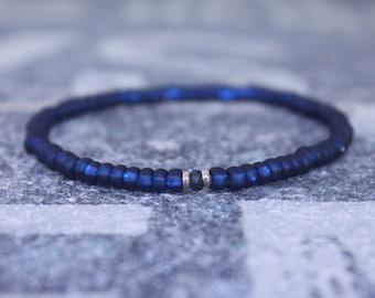 Blue Sapphire Bracelet, 24k Rose Gold vermeil, Mens Bracelet, Mens Jewelry, Mens Gift, Boyfriend gift, Husband Gift, Mens Beaded Bracelet