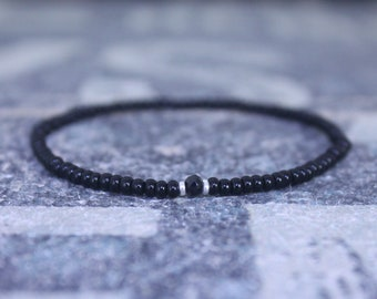 Mens Bracelet, Mens gift, Black Spinel Bracelet, Bracelet Men, Birthday Gift, Boyfriend Gift, Husband Gift, Gift for Him, Gift for Husband