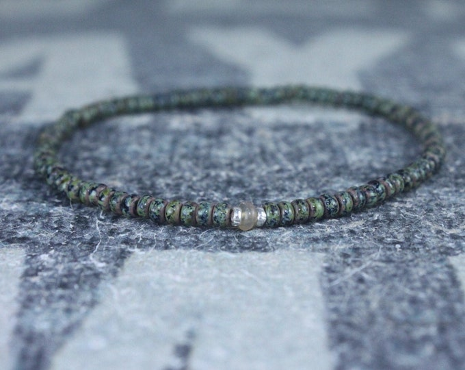 Opal Bracelet, Orange Ethiopian Opal, Mens Jewelry, Boho Bracelet, Minimalist Bracelet, Mens Gift, Boyfriend Gift, Gift for Men