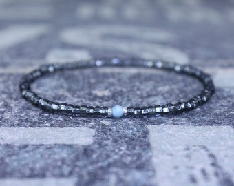 Larimar Bracelet, Mens Beaded Bracelet, Mens Jewelry, Mens Beaded bracelet, Husband Gift, Mens Gift, Boyfriend Gift, Gift for men bracelet