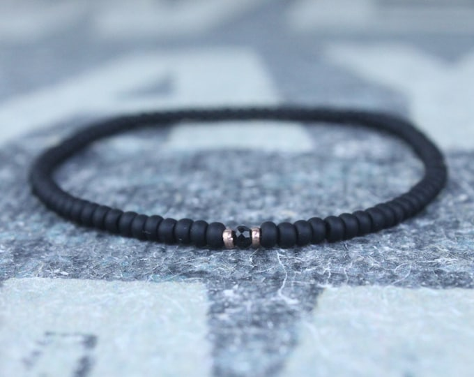 Mens Black Tourmaline Bracelet, Mens Jewelry, 24k Rose Gold vermeil, Gifts Men, Anniversary Birthday Gift, October birthstone Boyfriend Gift