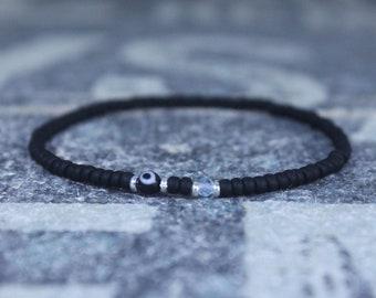 Blue Topaz Bracelet for men, Evil Eye Bracelet, Sky Blue Topaz Mens Birthstone, Gemstone bracelet, Minimalist Bracelet, Beaded Bracelet