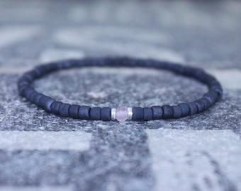 Mens rose quartz bracelet - Mens love enhancer - Healing jewelry - Sead Bead men, Mens gift for him Husband Gift , Mens Seed Bead