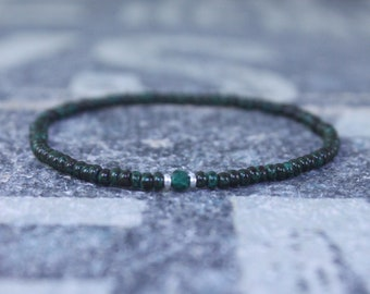 Malachite Bracelet, Mens Bracelet, Mens Beaded Bracelet, Minimalist Jewelry, Mens Gift, Gift for Him, Bead Bracelet, Green Bracelet Men