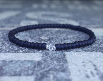 Couples Bracelet, Herkimer Diamond Bracelet, Men Jewelry, Love bracelet, Distance bracelet, Gift Men, Anniversary Husband Boyfriend Gift