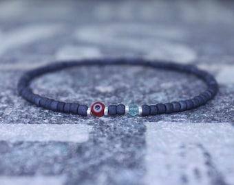 Apatite Bracelet, Evil Eye Bracelet, Mens bracelet, Mens Gifts, Birthday Gift for Men, Gemstone Bracelet, Birthstone bracelet, Bracelet Men